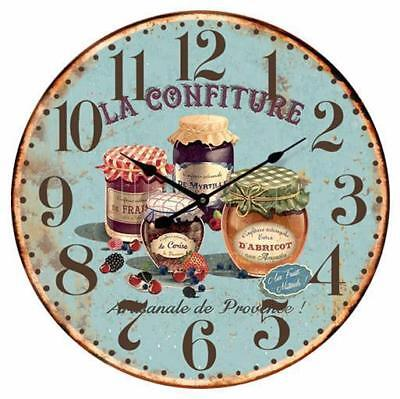 French Country Chic Vintage Inspired Wall Clocks 58CM KITCHEN JAMS BLUE New Time