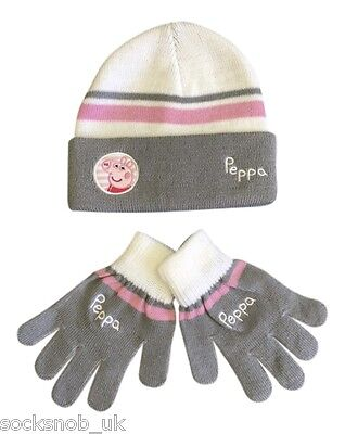 Childs Boys Girls knitted winter warm hat & Gloves set, One size age 4-8 years
