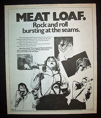 Meat Loaf Bat Out Of Hell 1978 Poster Type Advert, Promo Ad