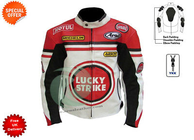 white lucky strike motor bike leather jacket racing leather jacket casual jacket