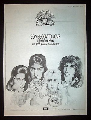 Queen Somebody To Love 1976 Poster Type Ad, Promo Advert