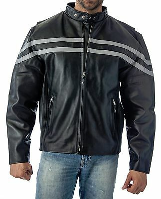 REED MENS VENTED MOTORCYCLE LEATHER JACKET - Black / Silver - Brand New wTags