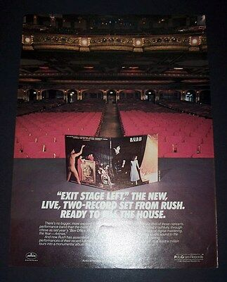 Rush Exit Stage Left 1981 Short Print Poster Type Advert, Promo Ad