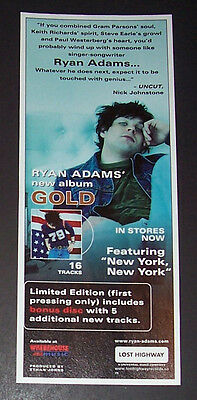 Ryan Adams Gold 2001 Small Poster Type Advert, Promo Ad