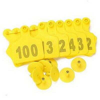 100 Sets Yellow Ear Tag With 1-100 Number For Cow Cattle Large Livestock