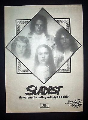 Slade Sladest 1973 Poster Type Ad, Promo Advert (Glam)
