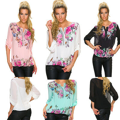 Bluse Tunika Shirt Schmetterlinge Nieten Damen Chiffon S 34 36 38 kurz arm Club