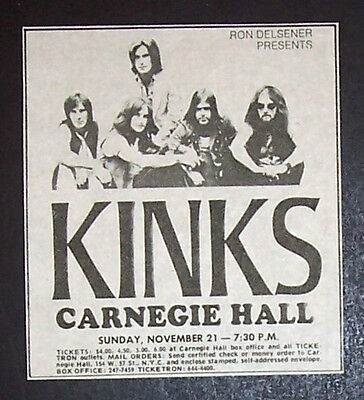 The Kinks Carnegie Hall, NYC 1971 Small Concert Advert Promo Ad 2