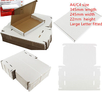 100 x C4 A4 SIZE BOX 240x345x22mm ROYAL MAIL LARGE LETTER POSTAL CARDBOARD PIP