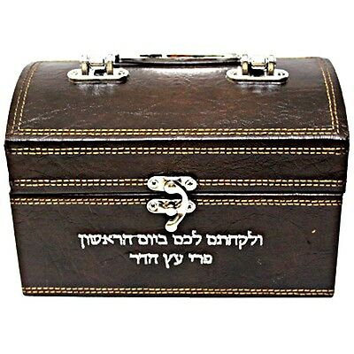 Etrog Box with Biblical Verse Engraving in Artificial Leather 12X18.5cm