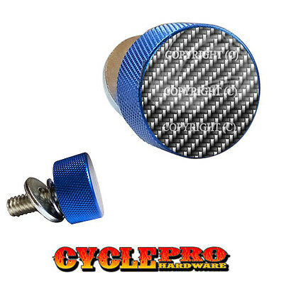 202 Blue Knurled Billet Seat Bolt 96-UP Harley Touring GLOSS BLUE TOP