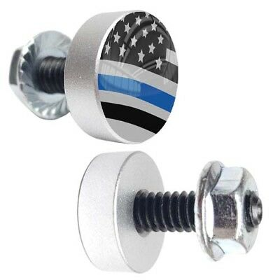 185 2 Silver Aluminum Lg License Plate Frame Tag Bolts BLUE LINE POLICE