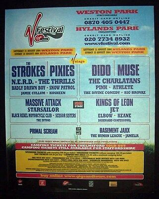 The Strokes Pixies Dido Pink V Festival UK 2004 Poster Type Advert Promo Ad
