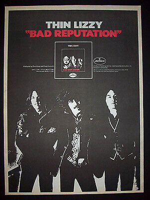 Thin Lizzy Bad Reputation 1977 Short Print Poster Type Ad, Promo Advert