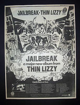 Thin Lizzy Jailbreak 1976 Poster Type Ad, Promo Advert