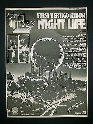 Thin Lizzy Night Life 1974 Poster Type Ad, Promo Advert