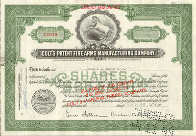 Colt Patent Firearms   collectible gun certificate   would look great framed!
