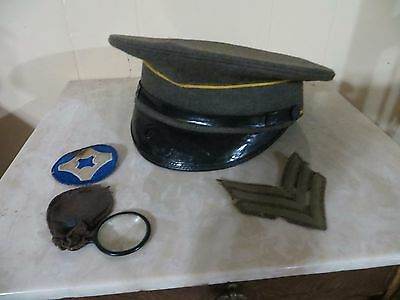 Ww1 Military Cap, Patches, Magnifying Glass