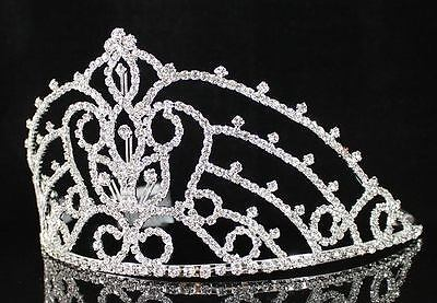 Ab89199 Clear Austrian Rhinestone Crystal Crown Tiara With Combs Pageant Prom