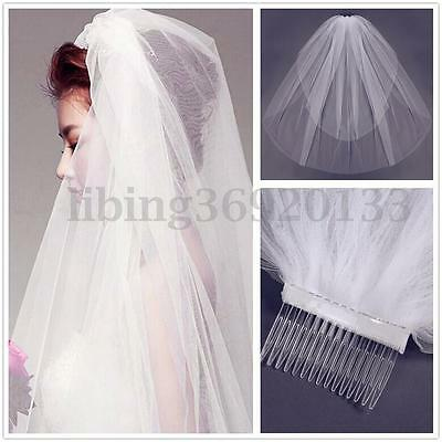 2 T Wedding Bridal Veil Elbow Satin Lace Edge Length With Comb White Ivory US