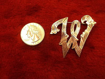"""#2 of 2, BEAUTIFUL VTG MEXICAN STERLING SILVER """"W"""" (FANCY INITIAL) BROOCH/PIN"""