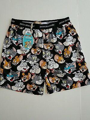 PETER ALEXANDER TOM & JERRY MENS MID SLEEP PYJAMA SHORT in Black RRP$59.95