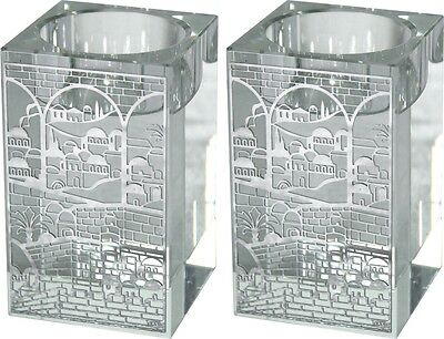 Pair Crystal Shabbat Candlestick Heats Flat With Filigree Decoration Jerusalem