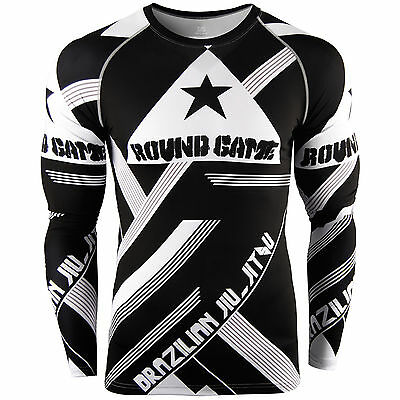 Mens Womens  Compression shirts training gym baselayer RASHGUARD bjj top S~3XL