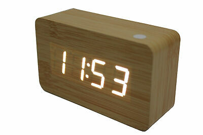 White Led Wooden Alarm Clock + Temperature Display Usb/battery Wood White 6030