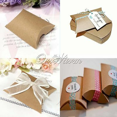 50 Pieces Wedding Kraft Paper Pillow Favor Boxes Gift Candy Bag Party Supplies