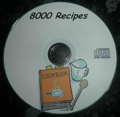 8000 Recipes Bread Machine Diets Soup Pudding Baking Home Farm Books on CD
