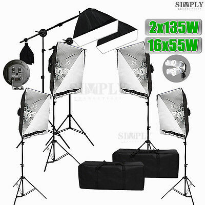Photography Studio Softbox Continuous Lighting Soft box Light Boom Arm Stand Kit