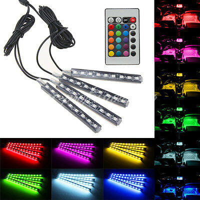 4X 9Led Remote Car Interior Footwell Atmosphere Strip Light Neon Decoration Lamp