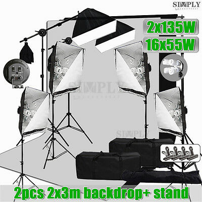 Photography Studio Softbox Lighting Soft box Light Boom Arm Stand Backdrop Kit