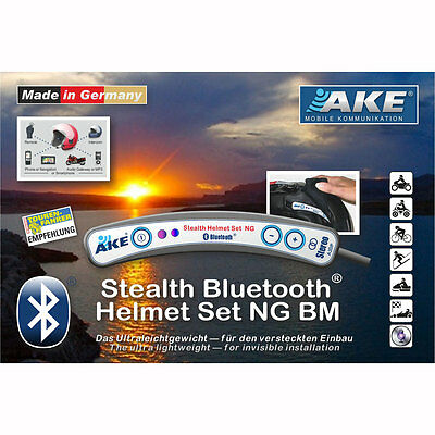 Motorcycle AKE Stealth Bluetooth Helmet Set NG Single Intercom - With Boom Mic