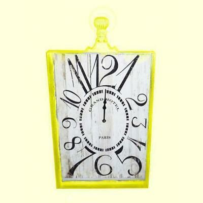 French Country Chic Retro Inspired Wall Clocks 53CM YELLOW MED RECTNGLE New Time