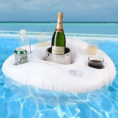 Inflatable Drink Holder Floating Hot Tub Pool Sea Drinks Hold Cups Cans Bottles