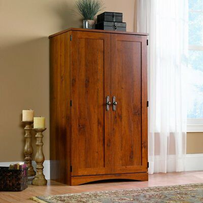 Sauder 404958 Harvest Mill Computer Armoire Abbey Oak Finish NEW