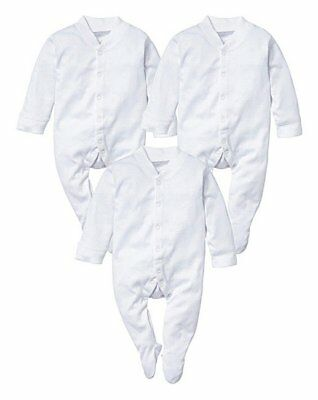 3 Pack - White 100% Cotton Baby Sleepsuits Short Sleeve baby grow Soft Size