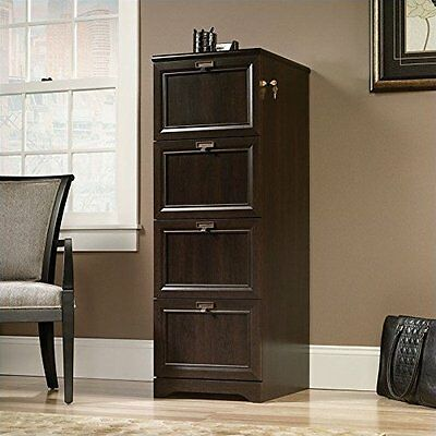 Sauder 415978 File Cabinet With Four Drawers, Key Lock In Cinnamon Cherry Finish