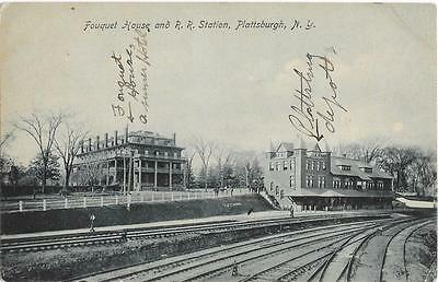 Fouquet House and Railroad Station Plattsburgh New York c1910 NY Postcard