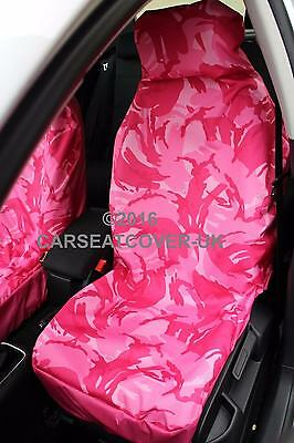 Audi A3 Cabriolet (2013-) Pink Camouflage Waterproof Car Seat Covers - 2 Fronts