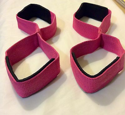 Figure 8 Straps  /  Weight Lifting Straps  ( HOT  PINK )