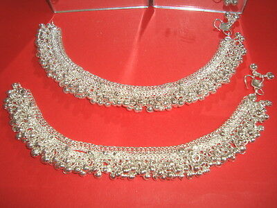 Indian Pair Silver Plated Wide  Anklet Jewellery Bollywood Jewellery N5