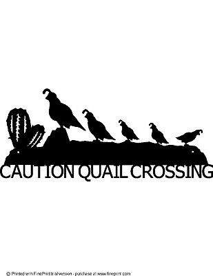 "Custom Quail String 3 Babies ""quail Crossing""  Textured Black Powder Coat Finish"