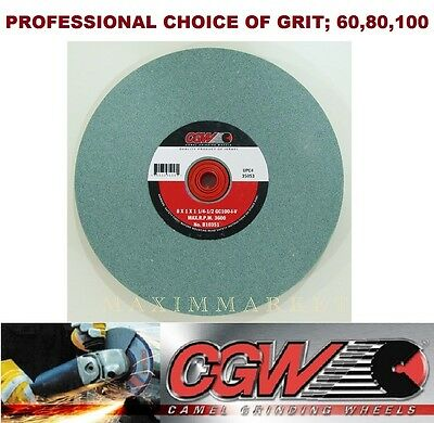 "8"" x 1"" x 1-1/4-1/2"" CGW Bench or Pedestal Grinding Wheel Green Silicon Carbide"