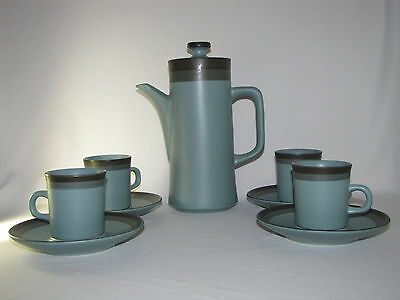 Arrow Stone Green Blue Turquoise Coffee Pot and 4 Mugs with Saucers