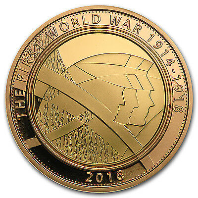 2016 Great Britain £2 Gold Army Proof (WWI) - SKU #95331