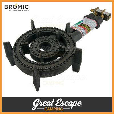 Bromic Cast Iron Double Ring Burner - 2 Ring Burner with HOSE