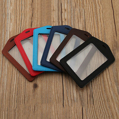ID PU Leather Card Holders Badge Case Clear with Color Border and Lanyard Holes